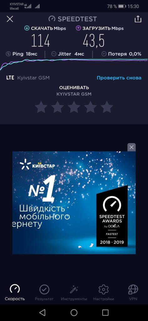 Тест скорости интернета в селе Ясногородка